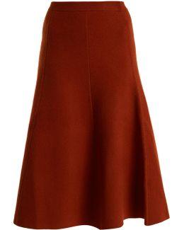 A-line Wool-blend Midi Skirt
