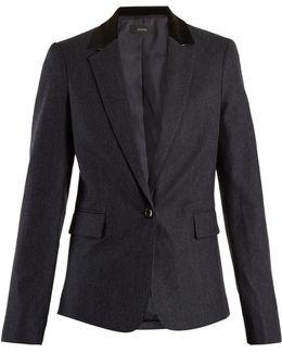 Prisca Velvet-trimmed Pinstriped Wool-blend Jacket