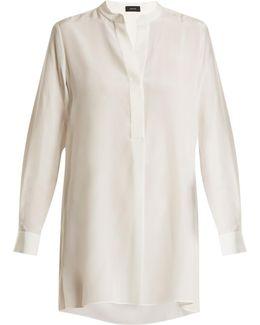 Lara Stand-collar Silk Crepe De Chine Shirt