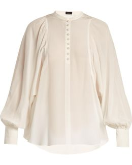 Aima Mandarin-collar Silk Crepe De Chine Blouse
