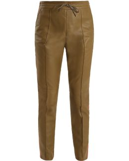 Base Side-stripe Leather Trousers