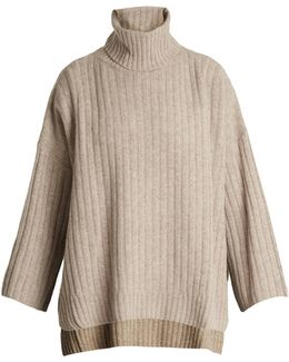 Roll-neck Ribbed-knit Wool Poncho