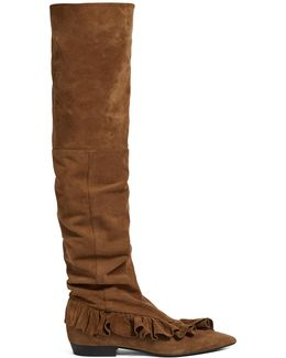 Ruffled Suede Slouched Over-the-knee Boots