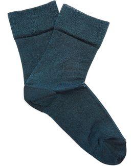 Metallic-knit Socks