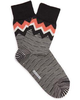 Zigzag Striped Wool-blend Socks