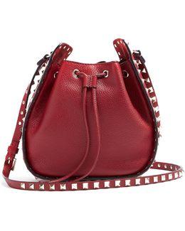 Rockstud Leather Cross-body Bucket Bag
