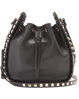 Rockstud Bucket Grained-leather Cross-body Bag