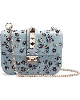 Lock Small Embellished Leather Shoulder Bag