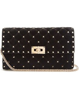 Rockstud Spike Quilted-suede Clutch