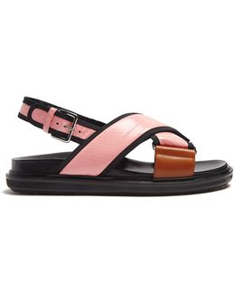 Fussbett Snake-effect Leather Slingback Sandals