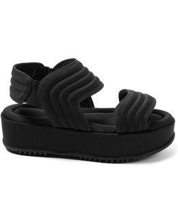 Waved-stitch Flatform Sandals