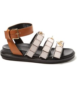 Triple-strap Embellished Leather Sandals
