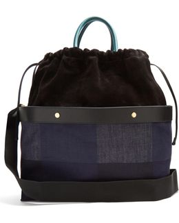 Double Plume Denim And Suede Bag