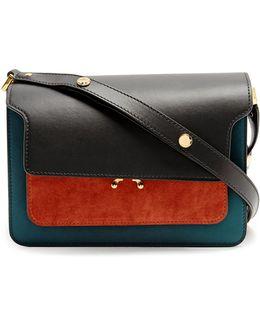 Trunk Medium Suede And Leather Shoulder Bag