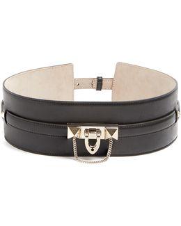 Rockstud-embellished Leather Waist Belt