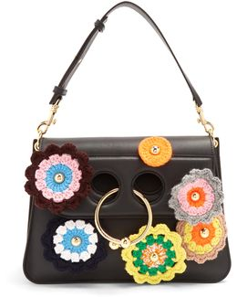 Pierce Medium Crochet-appliqué Shoulder Bag
