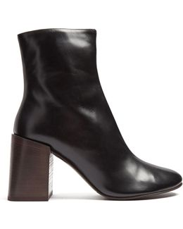 Saul Square-heel Leather Ankle Boots
