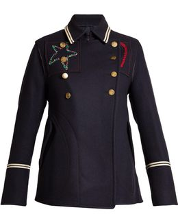 Embroidered Double-breasted Pea Coat