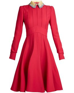 Embellished-collar Wool And Silk-blend Dress