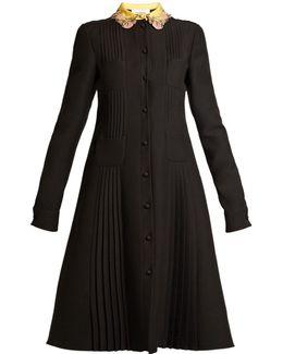 Embellished-collar Four-pocket Crepe Dress