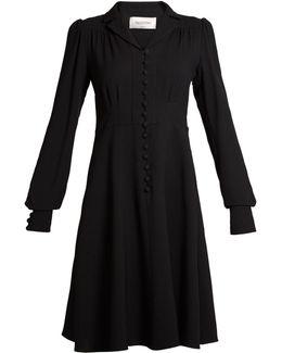 Notch-lapel A-line Crepe Dress