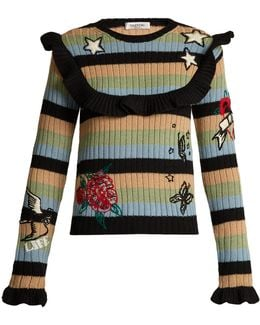 Embroidered Striped Ribbed-knit Wool Sweater