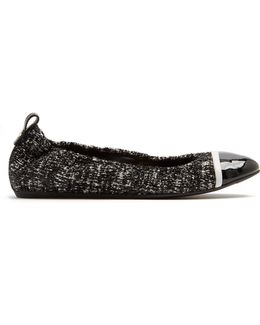 Capped-toe Tweed And Leather Flats