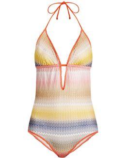 Zigzag-striped Halterneck Swimsuit