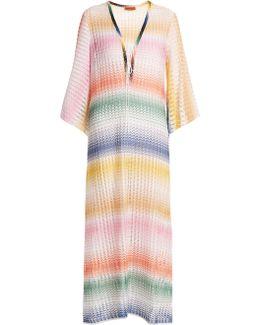 Lace-up Striped Open-knit Kaftan
