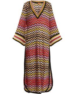 Deep V-neck Zigzag-knit Kaftan