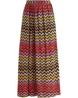 Zigzag-striped Crochet Knit Maxi Skirt