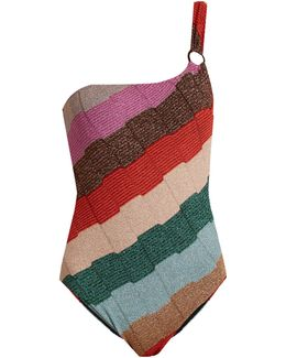 One-shoulder Striped-knit Swimsuit