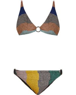 Triangle Striped-knit Bikini