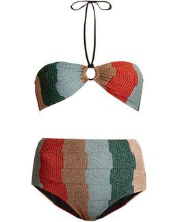 Striped-knit Bandeau Bikini