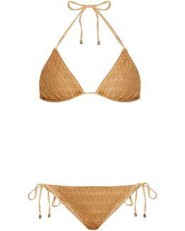 Metallic-knit Halterneck Bikini