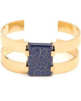Lapis Lazuli-embellished Double-band Cuff