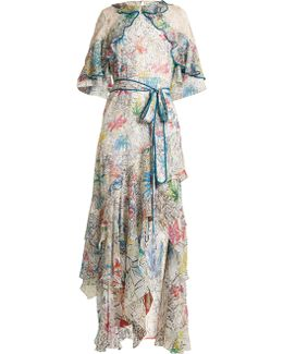 Floral-print Ruffled Silk-georgette Dress
