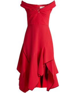 Off-the-shoulder Handkerchief-hem Cady Dress