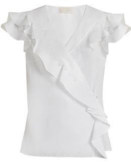 Ruffle-trimmed Cotton Wrap Top