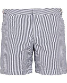 Bulldog Mid-length Seersucker Swim Shorts