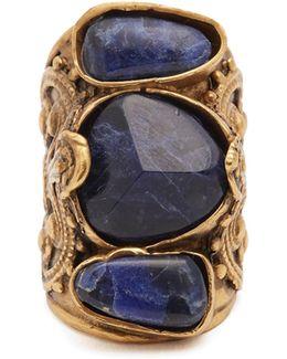 Engraved Stone-embellished Ring
