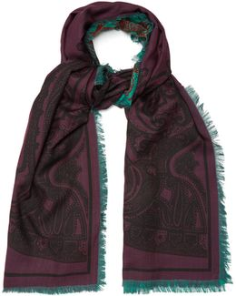 Reversible Wool And Silk-blend Scarf