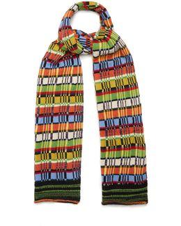 Striped Wool-blend Knit Scarf