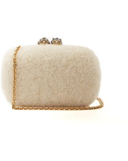 Queen And King Skull-embellished Shearling Clutch