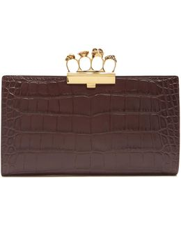 Crocodile-effect Leather Knuckle Clutch