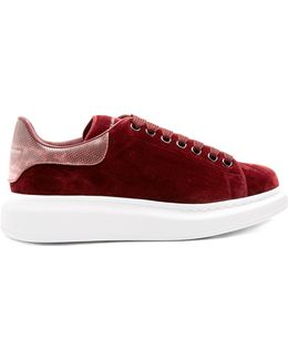 Raised-sole Low-top Velvet And Leather Trainers