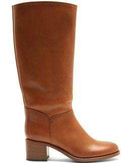 Iris Block-heel Leather Knee-high Boots