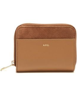 Claire Zip-around Leather And Suede Wallet