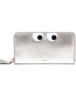 Eyes Zip-around Grained-leather Wallet
