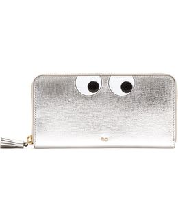 Eyes Zip-around Grained-leather Wallet